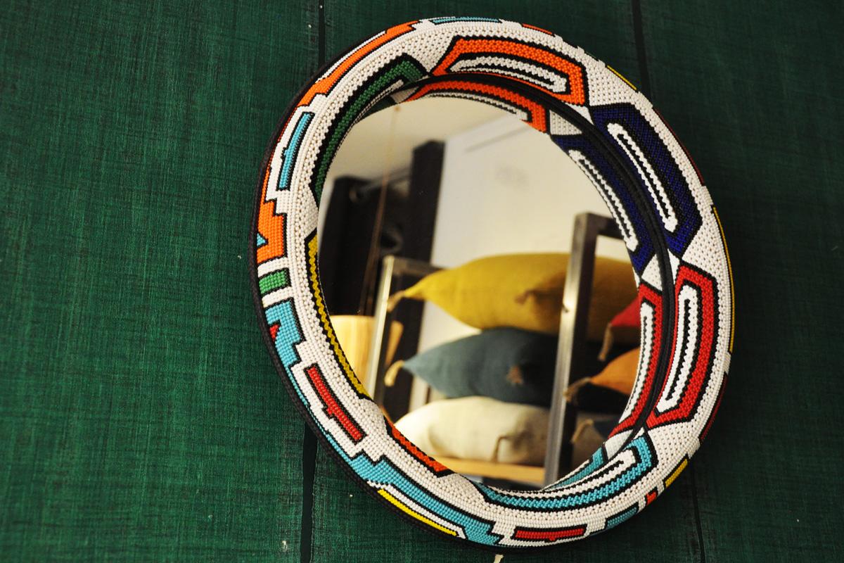 Miroir Afrique Fait main perles-def